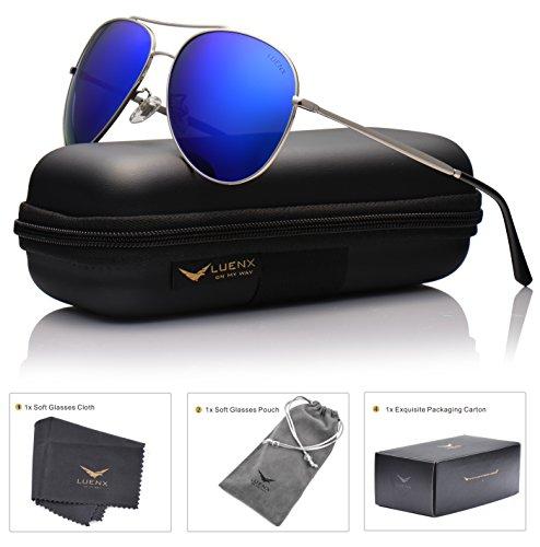 LUENX Aviator Sunglasses Polarized for Men & Women with Case - 400 UV Dark Blue Lens Metal Gloss Silver Frame Colored - Aviators Mirrored Blue