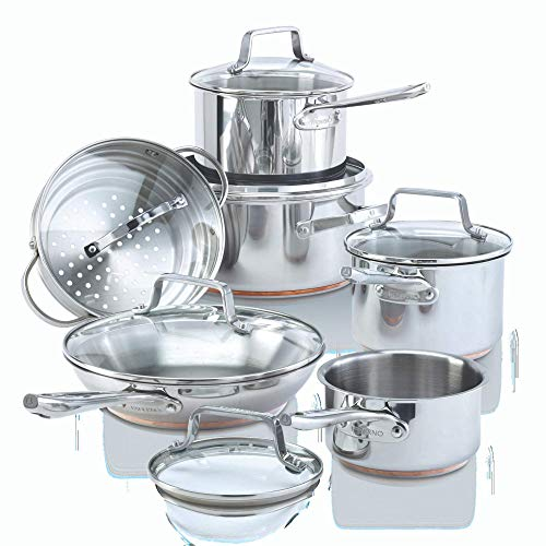 Paderno 12-Piece Stainless-Steel Copper Core Cookware Set | Kitchen Pots and Pans Set with Covered Steamer (Best Stainless Steel Copper Core Cookware)