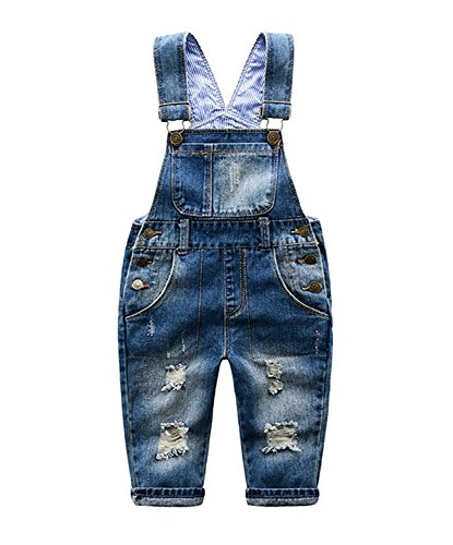 Little Boys' Girls' Ripped Denim Overall Bib Pants (2T, Blue) Denim Toddler Bib