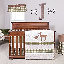 Trend Lab Deer Lodge Boy's 3 Piece Crib Bedding Set, Cream