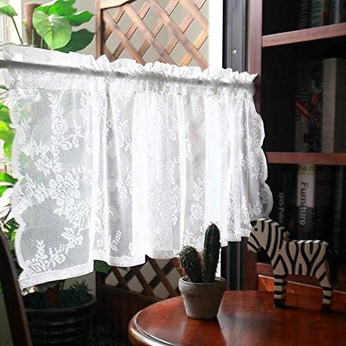 YAeele キッチンカーテン カフェカーテン 寝室用カーテン ショートバスルーム キッチンハーフカーテン カントリーハウス ビストロカーテン窓カーテン-W145×H30cm/W57×H11in
