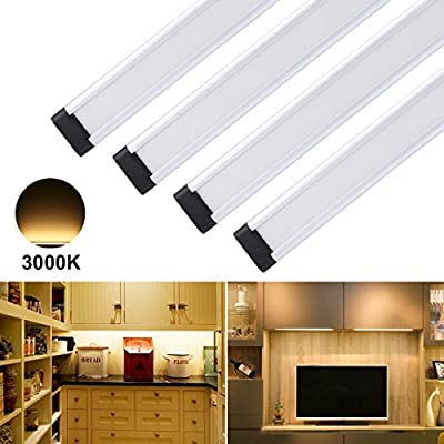 S&G Dimmable LED Under Cabinet Light Ultra Thin Under Counter Lighting Total of 12W, 24W Fluorescent Tube Equivalent, 4 Panel Kit, All Accessories Included, 12V LED Closet Light Fixtures, Warm White