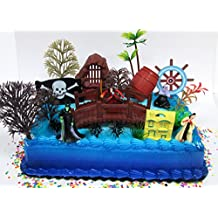 Disney Villains Captain Hook, Ursula, Cruella DeVille, Maleficent Birthday Cake Topper Set Featuring Figures and Decorative Accessories