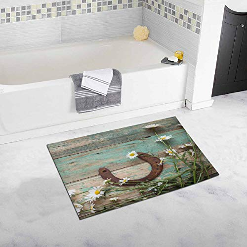 - INTERESTPRINT Rusty Horseshoe and Daisies on Rustic Old Barn Wood Bath Mat and Shower Rug Non Slip, 32 L X 20 W Inches