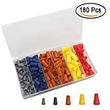 180PCS Electrical Wire Connectors Screw Terminals, Easy Twist On Connector Kit with Spring Inserted Wire Nuts Cap Connections Assortment Set - Gray, Blue, Orange, Yellow and Red Connectors with Storage Box