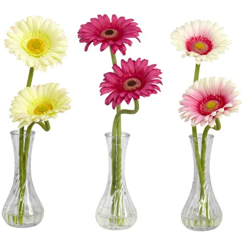 Gerber Daisy Flower Arrangements - Nearly Natural 1248-A2 Gerber Daisy with Bud Vase, Set of 3