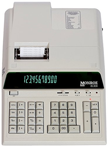 (1) Monroe 8130X 12-Digit Print/Display Professional Heavy-Duty Calculator in Ivory with Extended Life Calculator Body