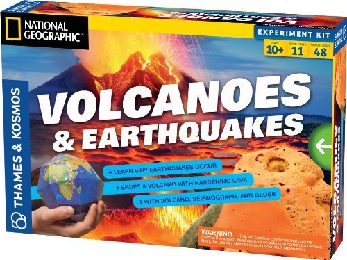 2 Item Bundle: Thames & Kosmos Volcanoes & Earthquakes Science Experiment Kit + Free Kids Coloring Book