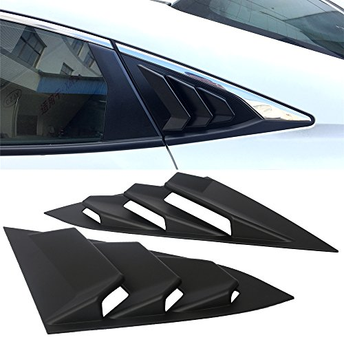 Window Louvers Fits 2016-2017 Honda Civic | 4D Rear Quarter Panel Window Side Louvers Vent 2PCS ABS by IKON ()