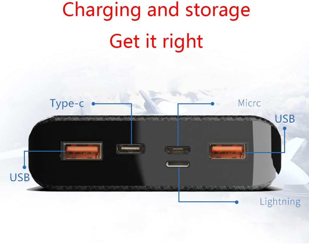 Dual USB Type-C Power Bank Shell DIY Kit 20000mAh 8x18650 Battery Charger Case Micro USB Port for Mobile Phones Accessories Black