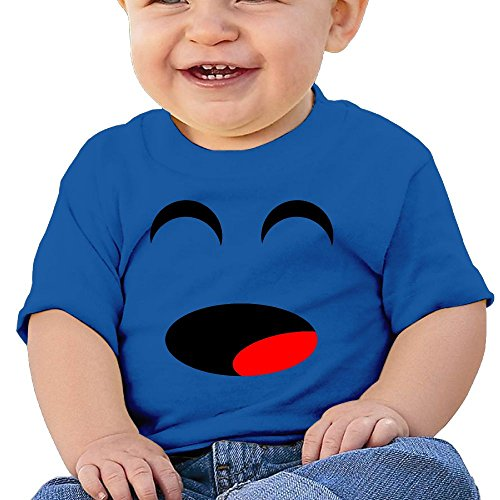 Qbeir Simple Happy Face Infant 6-24 Months Baby Round Neck Short Sleeve T - Goatee For Face Round
