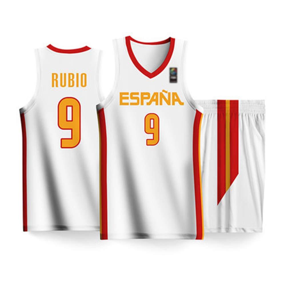 HS-HUWENHUI 2019 Copa del Mundo Masculina España Equipo Nacional De Baloncesto Ricky Rubio Traje De Competición Chaleco Deportivo Ropa De Niño Adulto ...