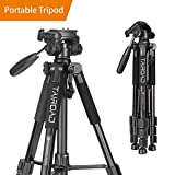 Tairoad 55'' Travel Camera Tripod Lightweight Aluminum with 3-Way Pan Head for DSLR SLR Canon Nikon Sony Olympus DV with Carry Case (Black)