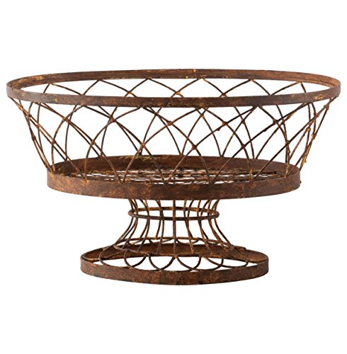 - Degas Large Rusted Oval Pedestal Iron Baskets - Set of 2