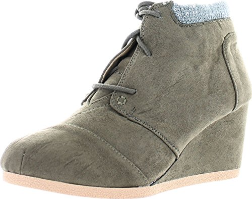 Qupid Womens Olee-15/Rex-S Lace Up Faux Leather Ankle Wedge Boots,Khaki Sweater Cuff,10