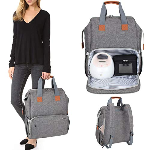 (Luxja Breast Pump Bag with Compartments for Cooler Bag and Laptop, Breast Pump Backpack with 2 Options for Wearing (Fits Most Major Breast Pump, Suitable for Working Mothers), Gray)