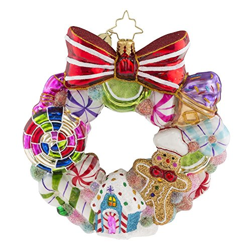 House Wreath Ornament (Christopher Radko Sweetest Swirl Gingerbread and Candy Wreath Themed Glass Ornament)