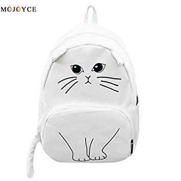 Image Unavailable. Image not available for. Color  Lovely Cat Printing Backpack  Women Canvas School for Teenagers Ladies Casual Cute Rucksack ... ded27ffe29
