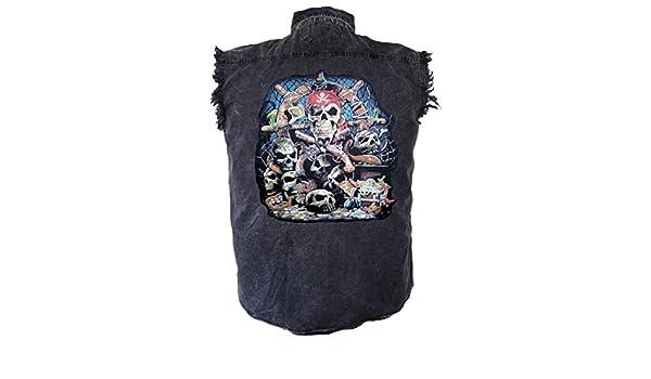 Leather Supreme Mens Pirate Skull with Bandanna Denim Cutoff Biker Shirt