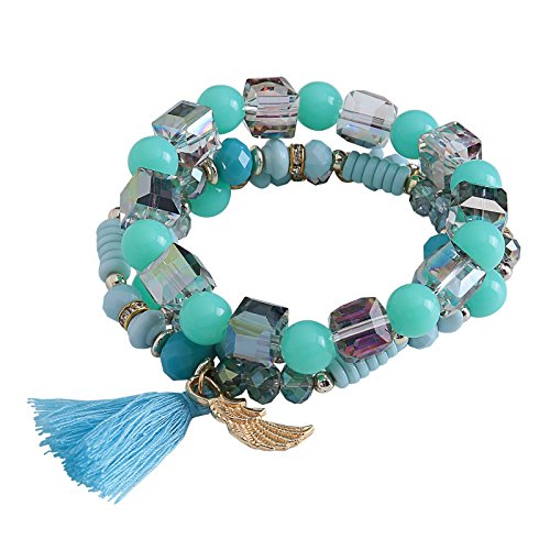 Price comparison product image Aokarry Tassel Bracelets for Women Angle Wing Acrylic Beads Elastic Leisure Style Blue
