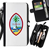 STPlus Guam, Seal, Territories USA United States of America Wallet Card Holder with Strap and Zipper Cover Case for LG V20