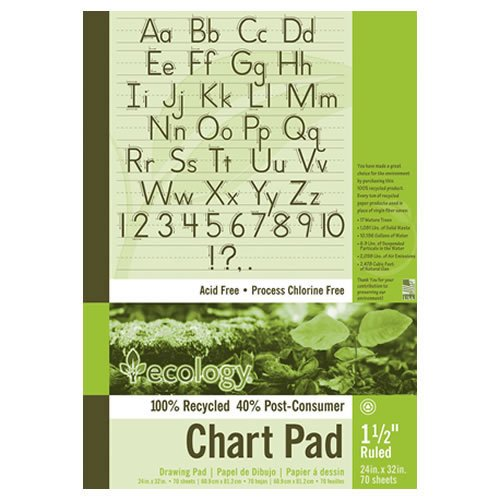 Pacon 945710 S.a.v.e recycled chart pad, 1-1/2'' ruling, 5-hole punch, 24 x 32, 70 sheets/pad