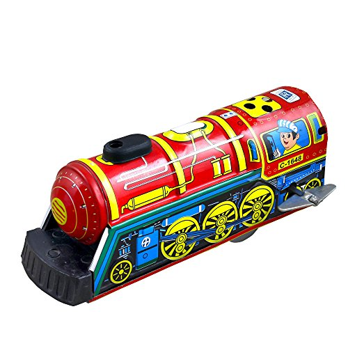 Vintage Metal Whistling Wind Up Express Train Tin Toys Collectibles
