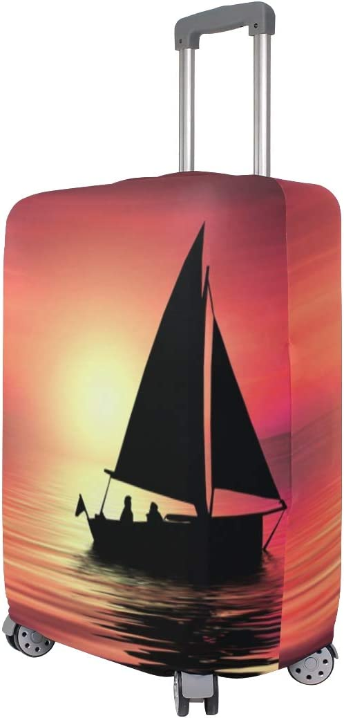 3D Sunset With Boat Print Luggage Protector Travel Luggage Cover Trolley Case Protective Cover Fits 18-32 Inch
