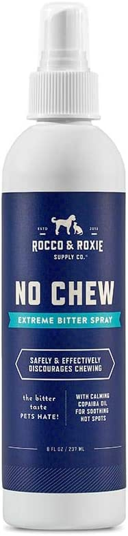Rocco & Roxie No Chew Extreme Bitter Spray for Dogs – Stop Dog Chewing Deterrent – Alcohol Free Anti Chew Repellent Formula for Puppies and Cats (8oz)