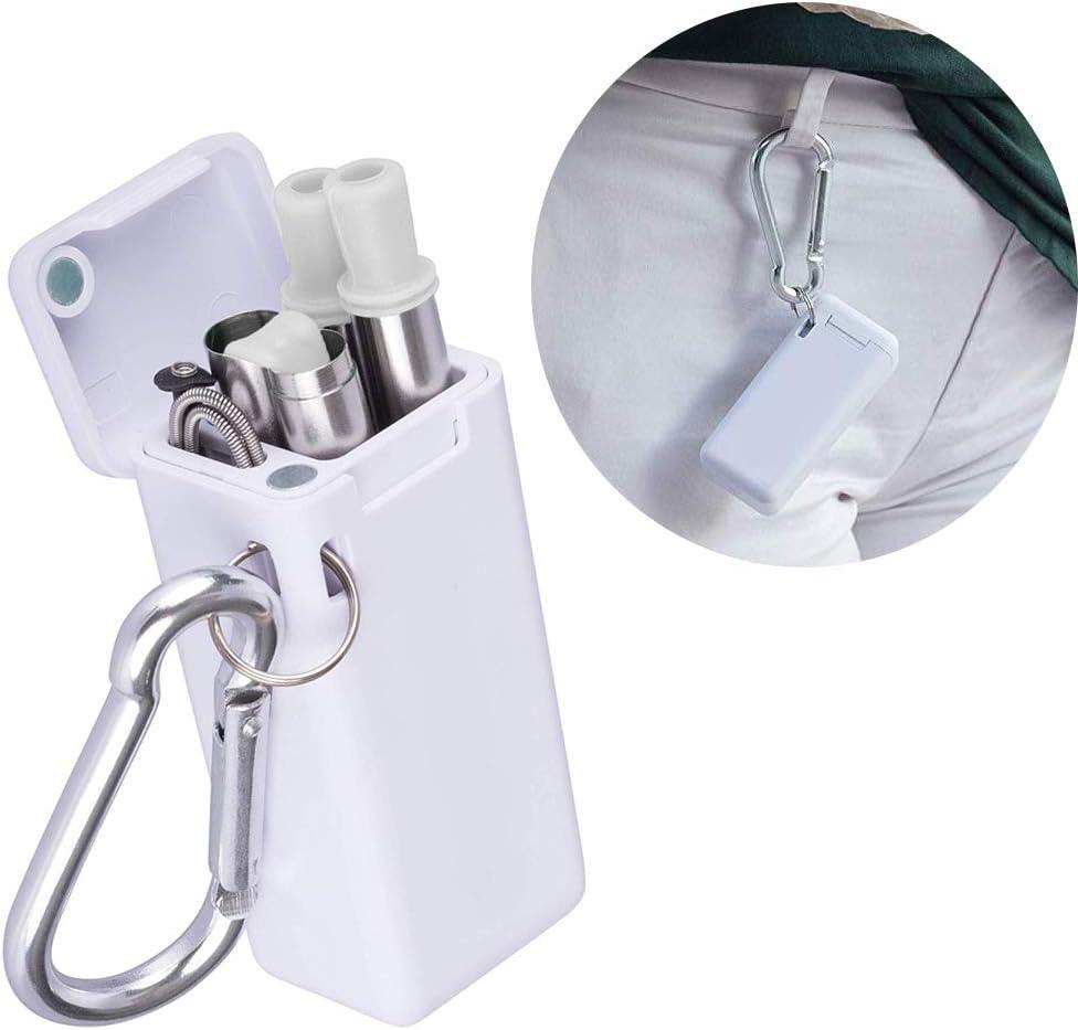 set di 2 cannucce pieghevoli riutilizzabili in acciaio inox Abimars esterno casa portachiavi con custodia rigida e spazzola per la pulizia per viaggi