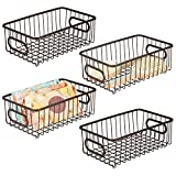 mDesign Metal Bathroom Storage Organizer Basket Bin - Modern Wire Grid Design - for Organization in Cabinets, Shelves, Closets, Vanity Countertops, Bedrooms, Under Sinks - Small Wide, 4 Pack - Bronze