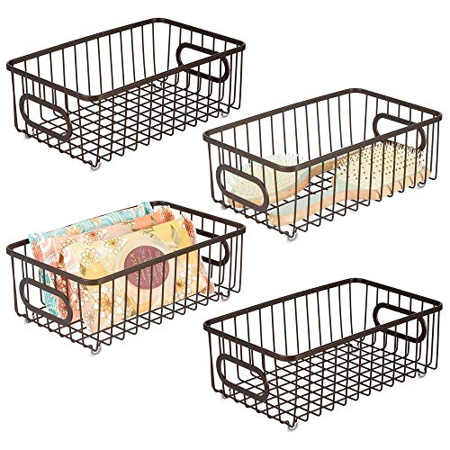 - mDesign Metal Bathroom Storage Organizer Basket Bin - Modern Wire Grid Design - for Organization in Cabinets, Shelves, Closets, Vanity Countertops, Bedrooms, Under Sinks - Small Wide, 4 Pack - Bronze