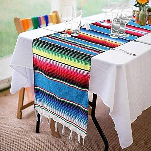 14 x 84 cm frange in cotone intrecciato a mano Blu picnic Fowecelt matrimoni tavolo da pranzo per feste messicane Runner da tavola messicano