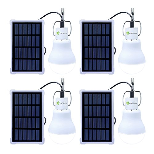 Solar Bulb Solar Panel Powered LED Light Upgraded Portable S1500 150LM 1600mA Battery Solar LED Lights Lamp for Outdoor Hiking Reading Camping Tent Fishing Lighting (Pack of 4)
