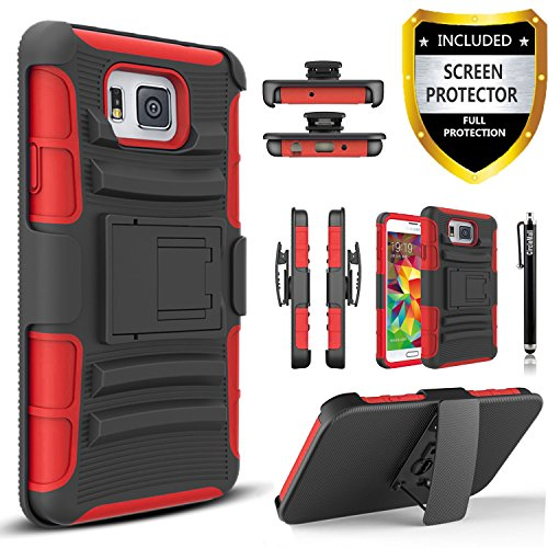 Galaxy Alpha Case, Combo Shell Cover Kickstand with Built-in Holster Locking Belt Clip+Circle(TM)Touch Screen Pen And Screen Protector-Red