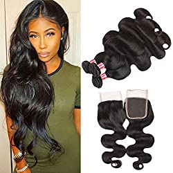 Allove Hair Brazilian Body Wave 3bundles With 4x4 Lace Closure Free Part Unprocessed Human Hair Body Wave Bundles Natural Color(18 20 22+16inch)