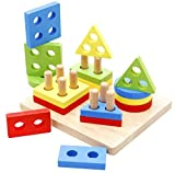 Revanak Toddler toys Wooden Educational Preschool Shape Color Recognition Geometric Board Block Stack Sort Puzzle Toys, Birthday Gift Toy for 1 2 3 4 5 Years Old and Up Kid Children Baby Boy Girl