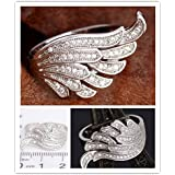 Size 6-10 Fashion womens 925 silver white topaz zircon wing Wedding Ring (7)