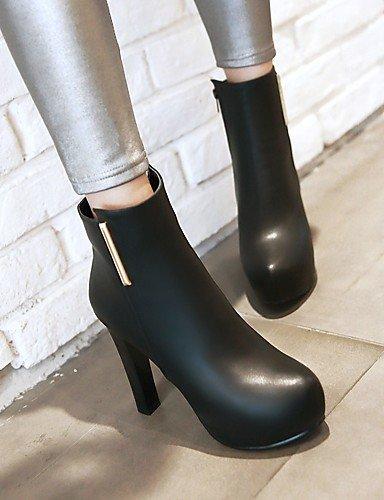XZZ  Damen-Stiefel-Kleid-Kunstleder-Blockabsatz-Plateau   Modische Stiefel-Schwarz   Grau Grau Grau c42c76
