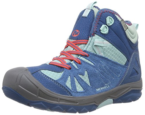 Merrell Capra Mid Waterproof Hiking Boot (ToddlerLittle KidBig Kid)Turquoise13 M US Little Kid