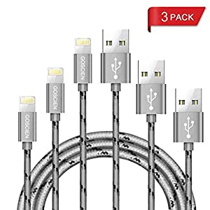 Lightning Cable,GOSCIEN 3Pack iPhone Charger,3Feet Nylon Braided Lightning to USB Cable Syncing and Fast Charging Cable Cord Compatible with iPhone X/8/X/5/5C/5S/6S/6S PLUS/7/7 plus, iPad Air, and more (Gray)