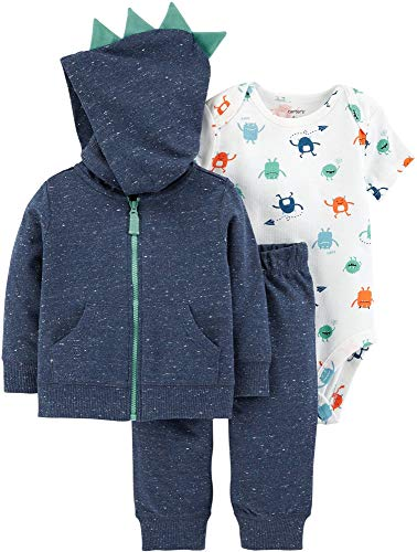 Carter's Baby Boys` 3-Piece Little Jacket Set (12 Months, Navy/Monsters)