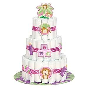Kit para hacer tarta de Pañales para bebé Niña, con diseño de Mono, 25unidades