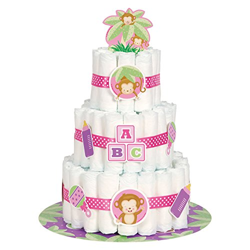 Girl Monkey Baby Shower Diaper Cake Kit, 25pc from Unique