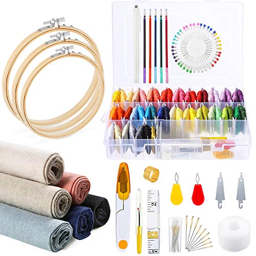 Caydo 145 Pieces Embroidery Kit, 50 Color Threads with Organizer Box, 6 Pieces Linen Needlework Fabric, Embroidery Hoops and Cross Stitch Tools for Adults and Kids Beginners