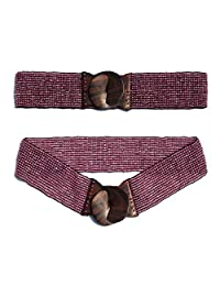 "Translucent Pink Hand-made Elastic Stretchy Beaded Bali Belt w/ Wooden Hook Buckle - 2 1/4"" Wide Belt"