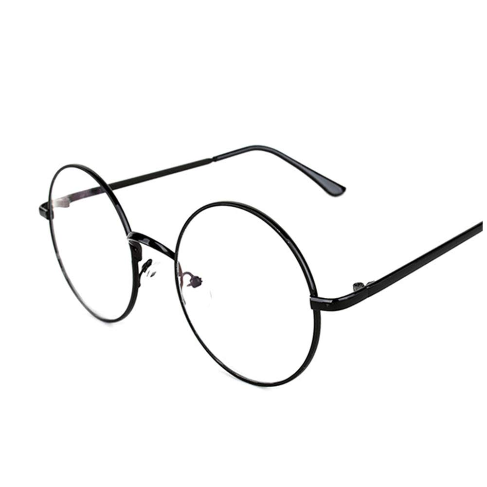 ca83cdbc7bc Lovef Large Oversized Metal Frame Clear Lens Round Circle Vintage Eye  Glasses 5.42inch (Black) at Amazon Women s Clothing store