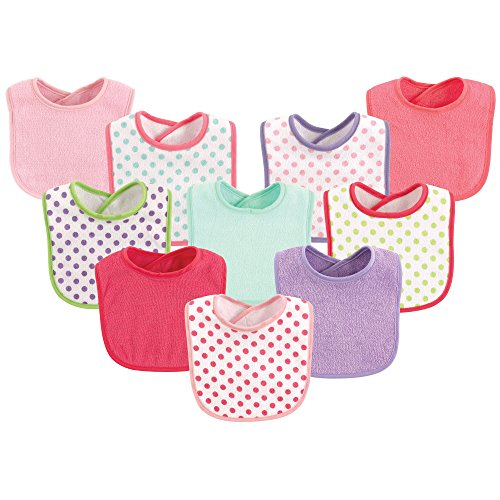 - Luvable Friends 10-Piece Baby Bibs, Dots and Solid (Colors May Vary)