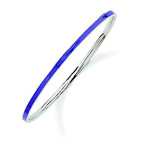 Sterling Silver Stackable Expressions Purple Slip-on Enamel Bangle Bracelet