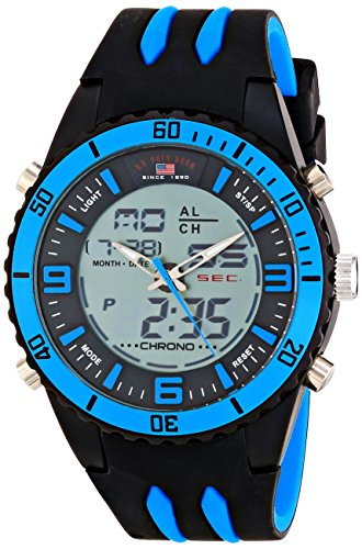 Two Tone Silicone - U.S. Polo Assn. Sport Men's US9478 Two-Tone Sport Watch with Black and Blue Silicone Band